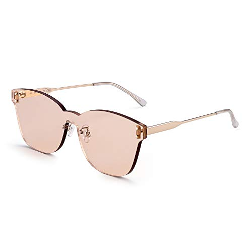 (JIM HALO One Piece Rimless Sunglasses Women Transparent Candy Color Tinted Lens Light Tawny)