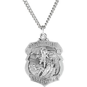 f chain church steel amazon officers silver dumont necklace medal inch archangel ac sterling pewter com round pendant gift dp stainless supplies michael a st saint on