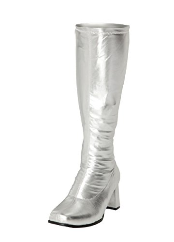 Women's Ladies Fancy Dress 1960's & 70's Knee High Go Go Retro Boots Size UK 3-12 Silver LIRoV2