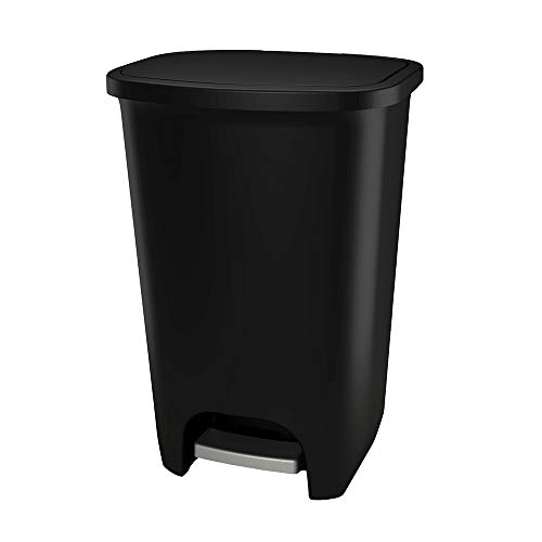 GLAD GLD-74031 Extra Capacity Plastic Step Trash Can with Clorox Odor Protection of The Lid | Fits Kitchen Pro 20 Gallon Waste Bags, 75 Liter, Black