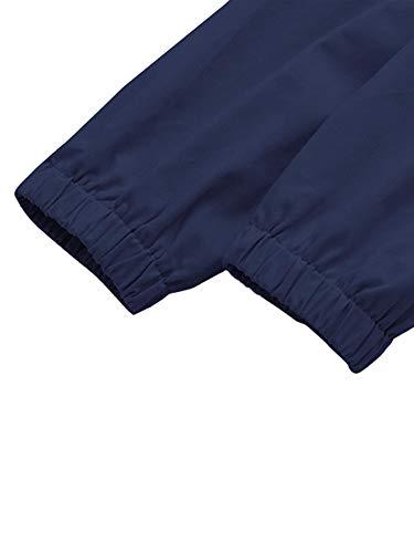 Romwe Women's Lightweight Kangaroo Pocket Anorak Sports Jacket Drawstring Hooded Zip up Windproof Windbreaker Navy S by Romwe (Image #3)