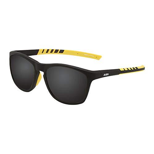JOJEN Polarized Sports Sunglasses for men women Baseball Running Cycling Fishing Golf Tr90 ultralight Frame JE001 (Black Frame Black-grey REVO ()