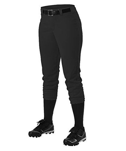 Alleson Ahtletic Women's Fast pitch Softball Belt Loop Pants, Black, X-Small