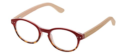Peepers Women's Galleria - Red/Wood 2433150 Round Reading Glasses, Red&Wood, 1.50