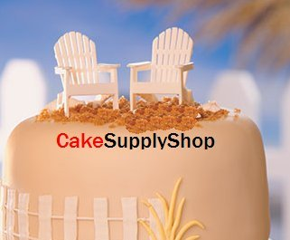 CakeSupplyShop White Decorative Adirondack style Chair Cake Toppers (set of 2)