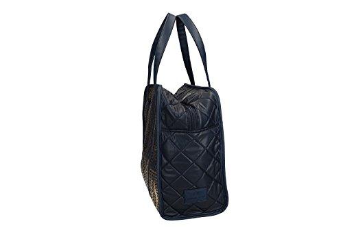 Borsa donna a spalla ANTONIO BASILE shopper blu con apertura zip VN1763