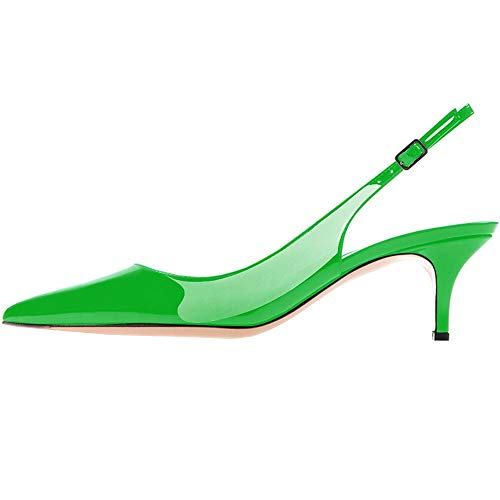 Lovirs Womens Green Slingback Ankle Strap Sandals Stiletto Mid-Heel Pointy Toe Pumps Shoes for Party Dress 7.5 M US