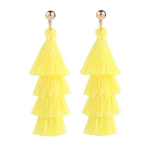 (BaubleStar Fashion Gold Tassel Dangle Earrings Layered Long Bonita Tiered Chartreuse Thread Tassel Drop Statement Jewelry for Women Girls B054LY)