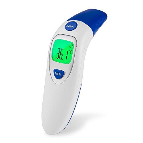 Luxe Care Digital Infrared Forehead & Ear Thermometer Suitable for Baby, Infants, Toddlers, Children, Teens and Adults Accurate Fever Medical Body Basal, Blue by Luxe Care