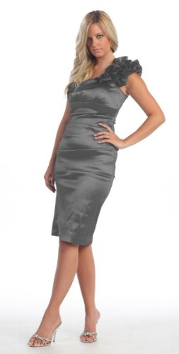 One Shoulder Prom Dress 2011 - US Fairytailes One Shoulder Bridesmaid Prom Short Dress #804 (6, Charcoal)