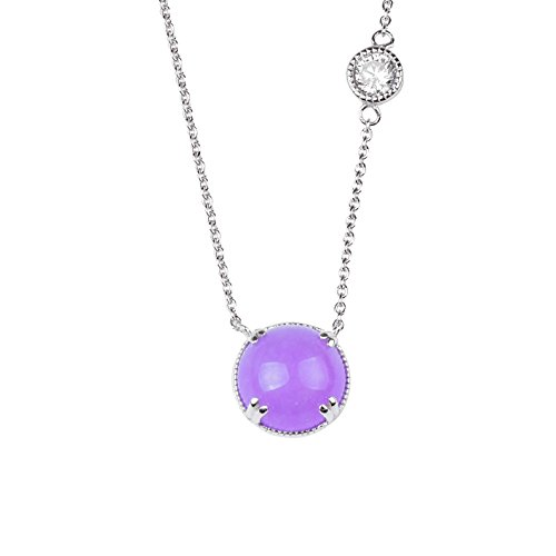 blackbox Jewelry Sterling Silver White Cubic Zirconia Lavender Dyed Jade Round Shape Pendant -
