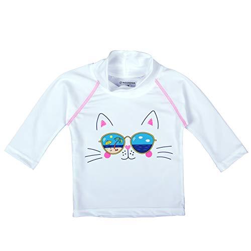 Nozone Baby Swim Shirt - UPF 50+ in Girls, White, Cat Sunglasses, 12-18 ()