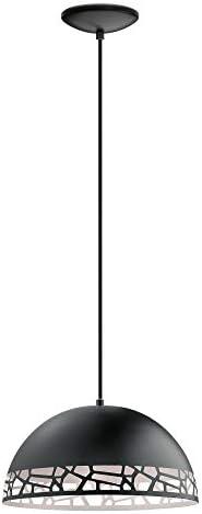 EGLO 97441A Savignano Pendant, 15-Inch, Matte Black White