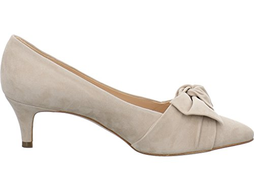 Peter Kaiser Low Heel Suede Court Shoe With Bow Beige Suede OKptZ5