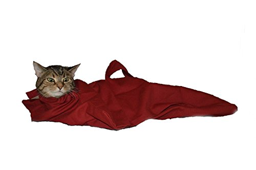 Cat-in-the-bag Large Red Cozy Comfort Carrier- Cat Carrier and Grooming Bag for Vet Visits, Medication Administration, Dental Care, and Car Travel