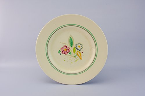 4 Vintage Pottery Susie Cooper Floral DINNER PLATES Unique Mid-Century Modern Shabby Chic English Mid 20th Century LS