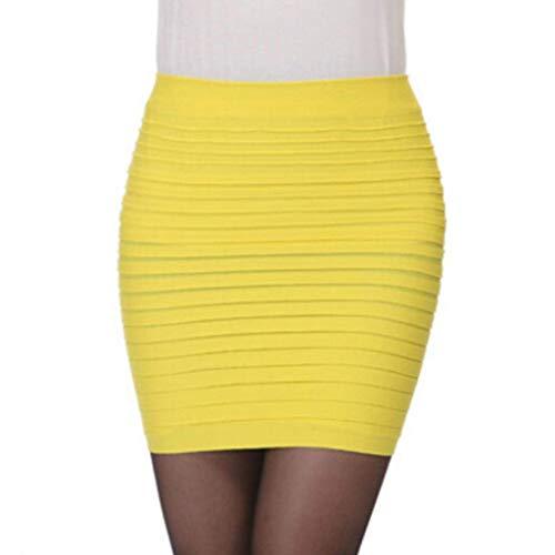 color Un Corta Mujer Falda Tamaño Fuxitoggo Cadera Alta Moda Plisada Negro Cintura Bodycon Tamaño Amarillo FxAz7qHCw