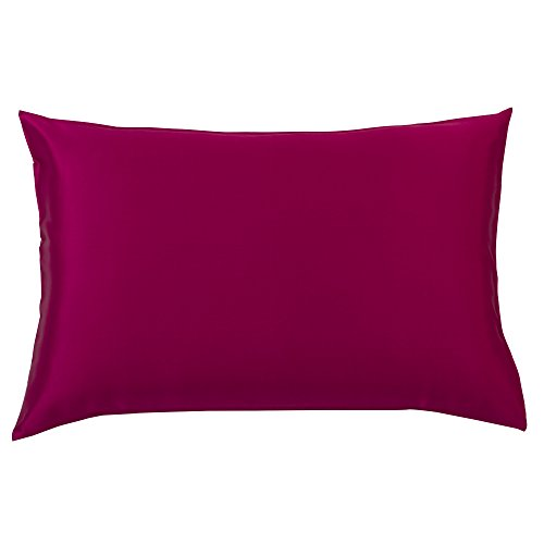 YUNS Luxury 100% Pure Mulberry Silk Pillowcase for Hair and Skin Beauty, 25 Momme Silk Both Sides, Deep Envelope Closure, King 20x36inch, Wine. ()