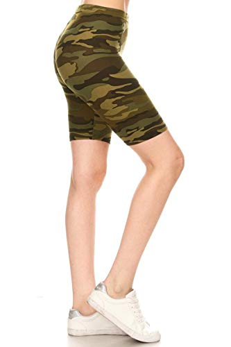 Leggings Depot LBK-N021-XL Camouflage Army Printed Biker Shorts, XL