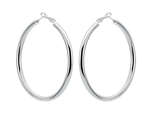 Sterling Silver Fashion High-profile Hoop Earrings with Omega Backs (LARGE)