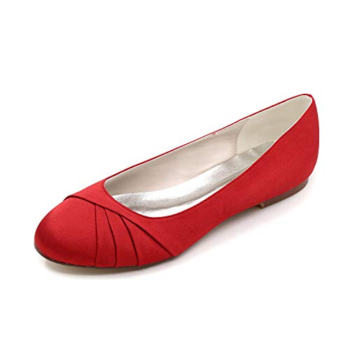 LLBubble Women Comfort Flat Satin Wedding Bridal Shoes Low Cut Closed Toe Ballet Shoes-Red 1-10.5 ()