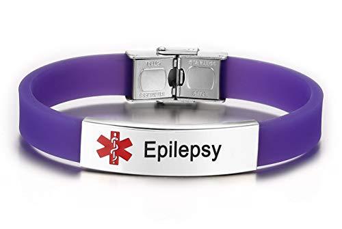 JF.JEWELRY Pre-Engraved Epilepsy Medical Alert ID Bracelet for Men Women Silicone Band Adjustable-Purple