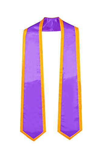 GraduationMall Plain Graduation Honor Stole Classic End Purple With Gold Trim Unisex Adult 72