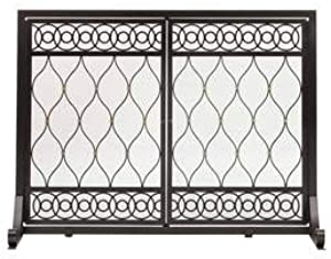 Plow & Hearth East Bay Fireplace Hearth Screen with Double Doors, Scrollwork and Trellis Design, Matte Black with Copper/Golden Highlights (Large)
