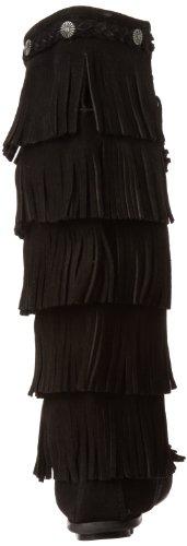 Minnetonka 5-Layer Fringe, Botas Mocasin Para Mujer Negro (Black)