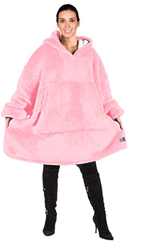 Catalonia Oversized Sherpa Hoodie Sweatshirt Blanket,Super Soft Warm Comfortable Giant Hoody with Large Front Pocket,for Adults Men Women Teenage Pink