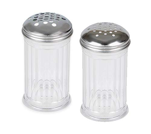 - American Metalcraft 12 oz Plastic Cheese Shakers (w/Extra Large Holes Lid + Small Large Holes Lid) by LEV