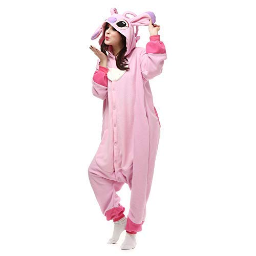 Cute Boyfriend Girlfriend Halloween Costumes (Unisex Adult Pink Stich Onesies Animal Cosplay Costume for Halloween)