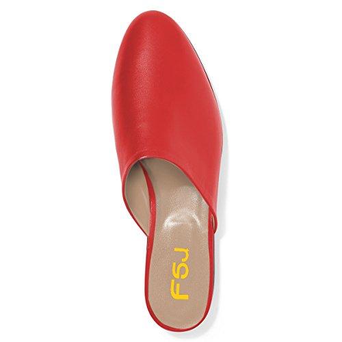 Walking Sandals 4 Flats 15 US Women Toe Heel Round Comfortable FSJ Low Mules Casual Red Size Shoes X1vnU