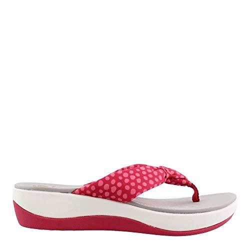 Clarks Women's Arla Glison Flip-Flop, bright rose textile/pink dots, 9 M US ()