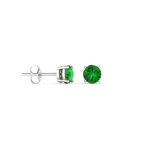 Diamondere Natural and Certified Emerald Solitaire Petite Stud Earrings in 14K White Gold | 0.20 Carat Earrings for Women