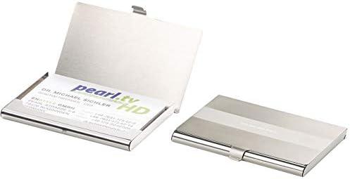 PEARL Kartenhalter: 2er-Set ultradünne Visitenkarten- & Kreditkarten-Etuis, Edelstahl (RFID Schutzhülle)