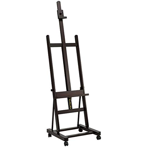 AGTEK Large-Scale Multi-Functional H-Frame Artist Easel Adjustable Easel with Casters, Beech, Brown