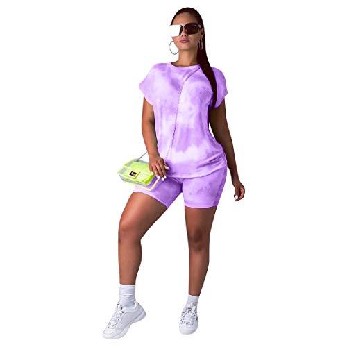 Womens Summer Short Sleeve Round Neck Tie Dye T Shirts Top Biker Shorts Set 2 Piece Outfits Jumpsuit Light Purple 2X
