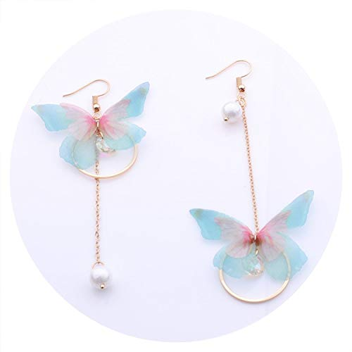 2019 New Hot Fairy Yarn Butterfly Long Earrings For Girl Ear Adornment Alloy Circle Rhinestone Pendientes Trendy Brincos,green pink style