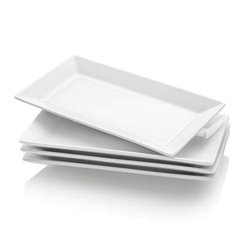 Krockery Porcelain Serving Plates/Rectangular Trays for Parties - 9.8 Inch, White, Set of 4 -