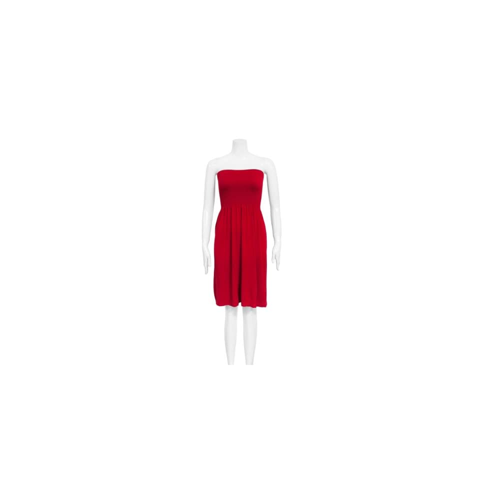 Strapless Seamless Red Smocking Tube Dress