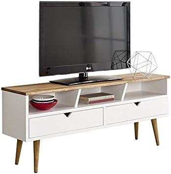 Hogar24-Mesa televisión, Mueble TV salón diseño Vintage, 2 cajones ...