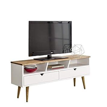 Hogar24-Mesa televisión, Mueble TV salón diseño Vintage, 2 cajones y Estante, Madera Maciza Natural, fabricación Artesanal. Medidas: 120 cm x 50 cm x ...