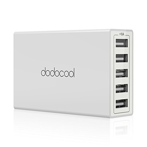 dodocool USB Charger 40W 8A 5-Port USB Charging Station with 4.92ft Detachable AC Power Cord for iPhone, iPad, Samsung, Nexus and More (White)