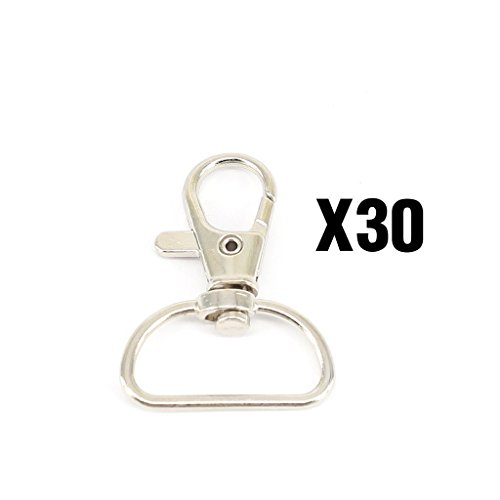 Wish Dayz 30pcs Silvery 1 Inch Inside Diameter D-ring Lobster Clasp Claw Swivel Eye Lobster Snap Clasp Hook for Strap(30pcs) (Lobster Swivel)