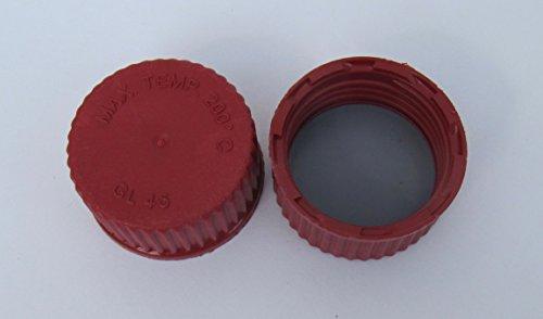 Schraubverschlusskappe GL 45, PBT, rot mit Silikon/PTFE Lippendichtung (10 Stück)