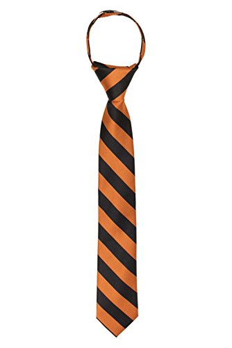 "Jacob Alexander Stripe Print Boys 14"" College Striped Zipper Tie - Orange Black"