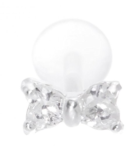 f33f5b64c Bow Lip Ring BioPlastic Labret Stud 18g-16g-14g Bow Tie Tragus-Helix-Flat  Back Cartilage Earring - Buy Online in Oman. | Jewelry Products in Oman -  See ...