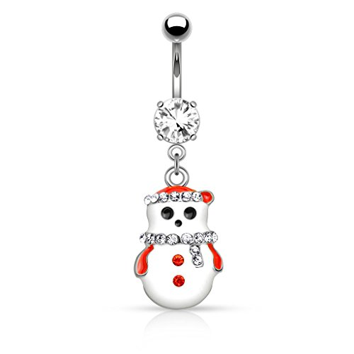 Dynamique Christmas Snowman with Multi Colored Gems Dangle 316L Stainless Steel Belly Button Ring