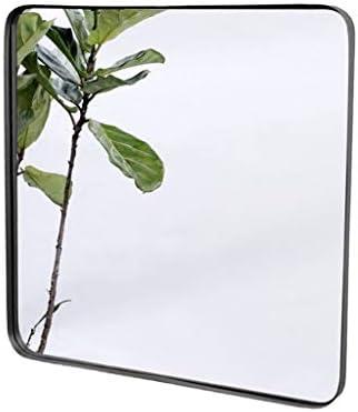 正方形の鏡、壁に取り付けられた入り口錬鉄製のバスルームの寝室のリビングルームの装飾鏡 鏡 (色 : 黒, サイズ さいず : 60 * 60CM)